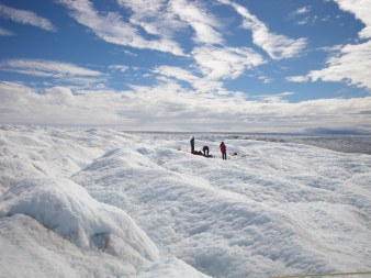 Cryoconite researchers on the Greenland Ice Sheet in 2010.
