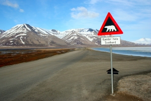 The famous polar bear sign in Longyearbyen - the gateway to Svalbard