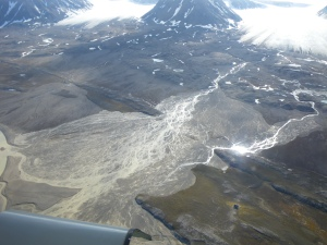 transfers of organic carbon and viable cells occur between cryoconite covered glaciers and other nearby environments including proglacial streams and newly deglaciated land.