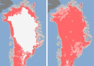 Extent of surface melt over Greenland's ice sheet on July 8 (left) and July 12 (right). Measurements from three satellites showed that on July 8, about 40 percent of the ice sheet had undergone thawing at or near the surface. In just a few days, the melting had dramatically accelerated and an estimated 97 percent of the ice sheet surface had thawed by July 12. Click on the image for a larger version. Credit: Nicolo E. DiGirolamo, SSAI/NASA GSFC, and Jesse Allen, NASA Earth Observatory