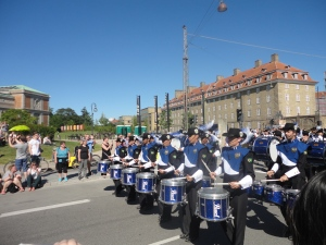 A parade in Copenhagen during our stopover!