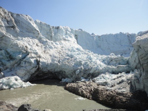 The ice cave and calving face of Russell Glacier
