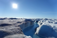 Observing a large melt stream near S6, Greenland Ice Sheet, 2016