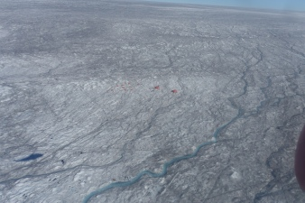 An aerial view of the Black and Bloom Camp at S6 (Greenland Ice Sheet) in 2016.