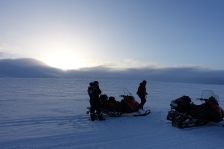 Snowmobile to field site, Svalbard